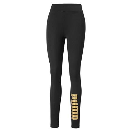 PUMA Metallic Branded Damen Leggings Puma Black-Gold XXS