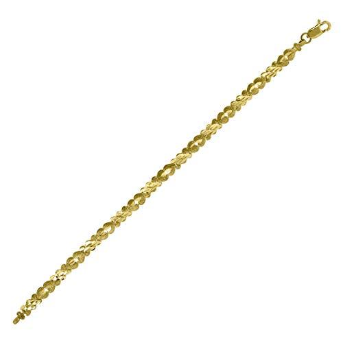 Pulsera de oro amarillo de 10 quilates para mujer, con múltiples corazones, regalo para mujer, 20 cm, grado de oro superior al oro de 9 quilates