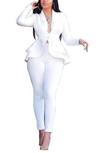 2 Piece Outfits for Women Long Sleeve Peplum Tops Shirt with Pants Casual Elegant Business Suit Sets White