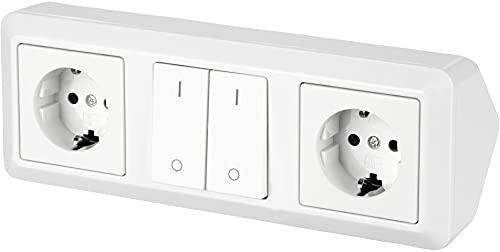 Regleta de 3 enchufes para esquina, 230 V, 16 A, 3600 W, T1-R, color blanco