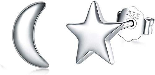 Silver Stud Earrings for Women, 925 Sterling Silver Moon Star Stud Earrings for Girls, Small Sleeper Cartilage Studs Earrings, 3 Colors in Silver/Gold/Rose Gold (moon&star, Silver)