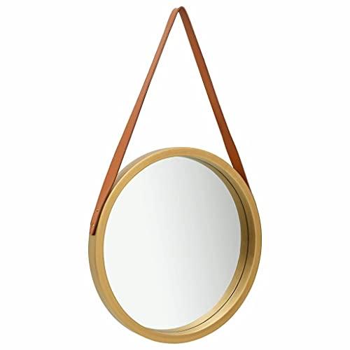 vidaXL Espejo de Pared con Correa Redondo Colgante Armario Baño Antiguo Retro Consumo de Maquillaje Decoración Hogar Sala Dorado 50 cm