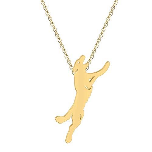 Gbrand Collar de Lobo para Hombre, joyería para Perro, Collares geniales, Regalo de Animal, Collar para Mujer-Gold_Color