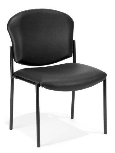 OFM Core Collection Manor Series Armless Guest and Reception Chair AntiMicrobial/AntiBacterial Vinyl in Black