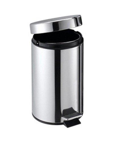 quantio Poubelle INOX 5 litres – Poubelle à pédale poubelles de Salle de Bain – Argent – Trash – Seau
