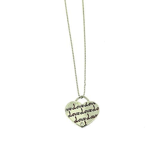 Sciccherie Collar colgante mujer corazón con inscripción 'Love' rosa plata 925 bañada en oro blanco, collar con colgante de corazón con texto rosa. Longitud 44-47 cm.