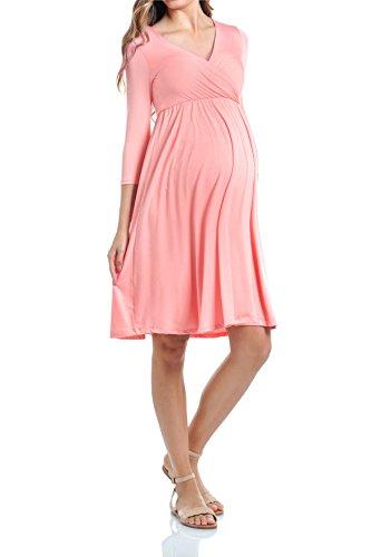 Beachcoco Maternity Women's V-Neck 3/4 Sleeve Nursing Knee Length Dress (L, Pink...