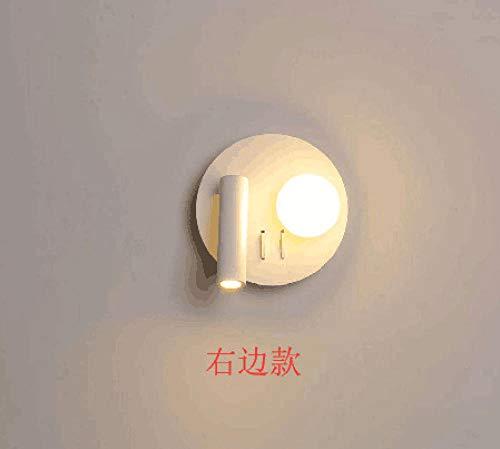 Wandlamp binnen buiten LED binnenverlichting acryl bedlampje hotelwand met verstelbare schakelaar, 8009 rond rechts monochroom wit licht