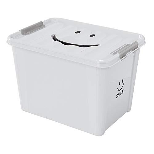 SPICE OF LIFE(スパイス) 収納ケース スマイルボックス ホワイト Lサイズ 40×28×27.5cm ポリプロピレン ふた付き スタッキング可 SFPT1530WH
