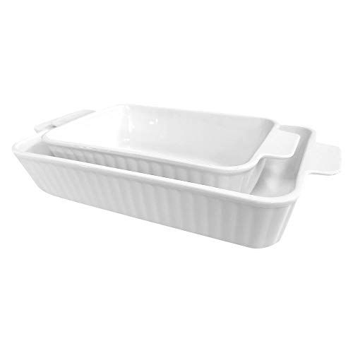 G-LIKE Porzellan Backplatte Keramik Backgeschirr – 2er Set Weiße Rechteckige 2-teilige Gestreifte Lasagneform Auflaufform Backform mit Griff für Soufflé Kuchen Tapas Bankett Backen Geschirr (Weiß)