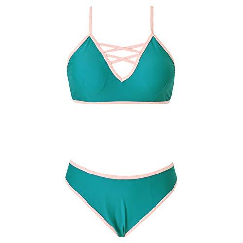 YANFANG Conjunto De Bikini SóLido Dos Piezas del Traje BañO La Honda Sin Alambre Atractivo Moda Las Mujeres Push Up Halter Acolchado Bra Tops Y Braguitas Sets Talla Grande BañAdor Vacaciones