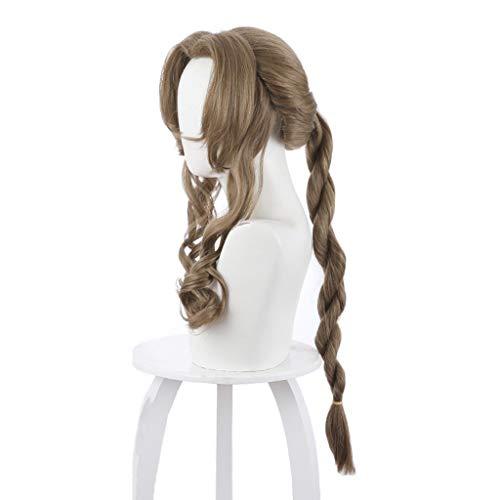 Cvthfyky FF7 (Aeris Gainsborough) peluca, de pelo largo rizado de la onda con la cola de caballo, sintético Brown peluca, for el partido animado juego de las mujeres del traje
