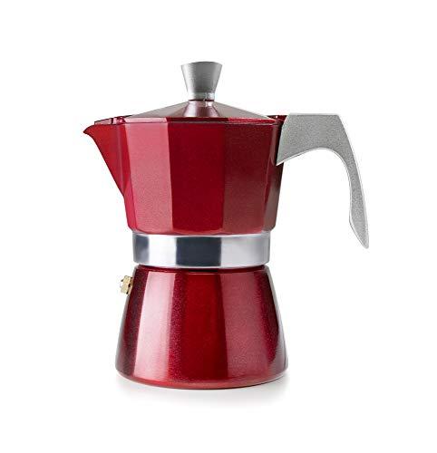Ibili 623203 Espressokocher für 3 Tassen, Aluminium, Rot, 16 x 9 x 9 cm