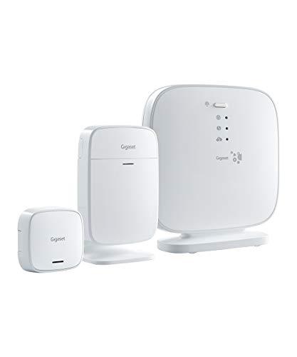Sistema de alarma Gigaset Elements con detector de movimiento por infrarrojos, sensor de puerta y ventana y estación base – Kit básico para principiantes Smart Home, color blanco