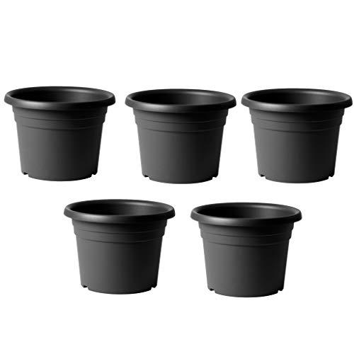BricoLoco Lote 5 uds. Macetero Redondo Plástico Premium 30 cm Antracita Interior o Exterior | Maceta 30 cm diseño Estable Doble Canal y Agarre fácil