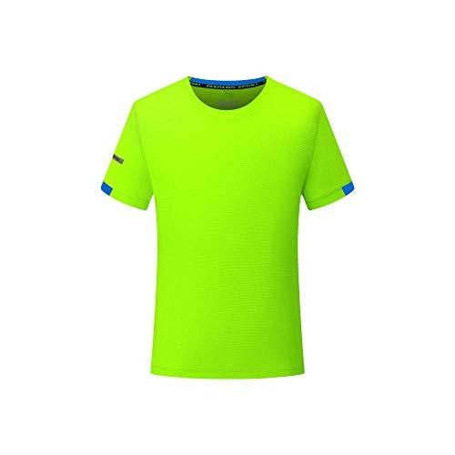 FDSHOSFH Deportes de Verano, Correr, Secado rápido, Camiseta, Mangas Cortas para Hombres y Mujeres, Ropa de Deporte-Fluorescent Green_XXL