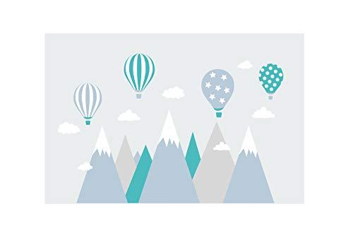 wandtattoo kinderzimmer berge Nordic Bergen Aufkleber Wandaufkleber Kind Baby Kindergarten Zimmer Gebirge luftballons Ballons Ballon Wolken Wolke Landschaft Wanddeko Baby Kinder Sticker G10XL