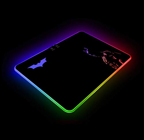 Batman RGB Gaming Mouse Pad Colorful LED Atmosphere Light Hard Surface with Personalized Luminous Pattern Gamer Gifts W14 X H10 (350 X 250 mm)