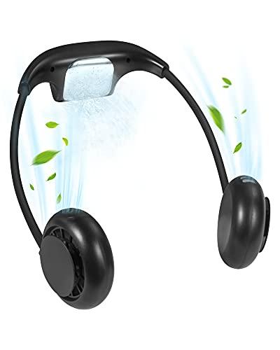 Mini Ventilador Portátil con Refrigerando, Entil USB Ventiladores de Cuello Silencioso, 3 Velocidades Potente Ventilador con 48000mAh Recargable Batería para Hogar, Oficina, Viajes-Negro