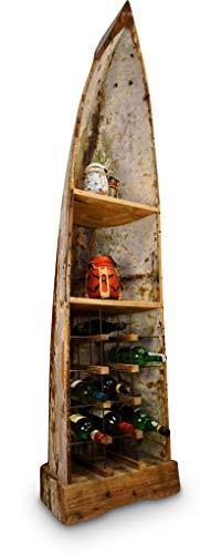XL Boot Weinregal LAWAS - 200cm Weinschrank im Vintage Look, hergestellt aus einem echten Alten Fischerboot aus Bali