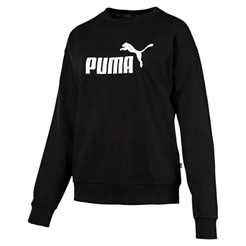 PUMA Damen ESS Logo Crew Sweat TR Pullover, Cotton Black, XL