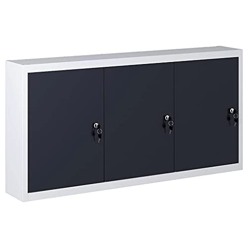 vidaXL Armario de Herramientas de Pared Industrial 3 Puertas con Cerradura del Gabinete Alacena para Taller de Bricolaje Garaje Metal Gris y Negro