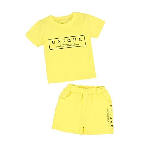 Tyoby Baby Jungen Mädchen Kurzarm T-Shirt Drucken+Shorts Sportbekleidung Zweiteiliges Set(Gelb,100)