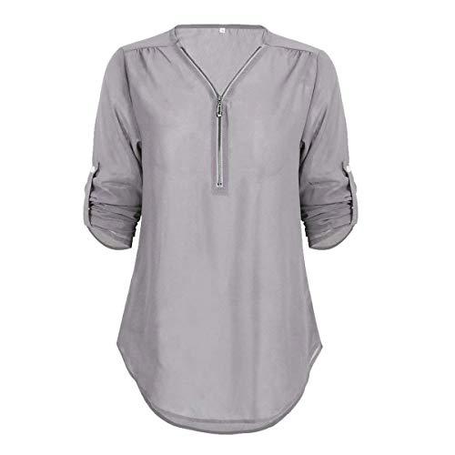 Las Señoras del Otoño Blusa De Color Sólido Largo Escote V Camisa Basicas Elegante Asimétrico Mancuerna Tops Camiseta Suelta Acogedor (Color : Grau, Size : SG)