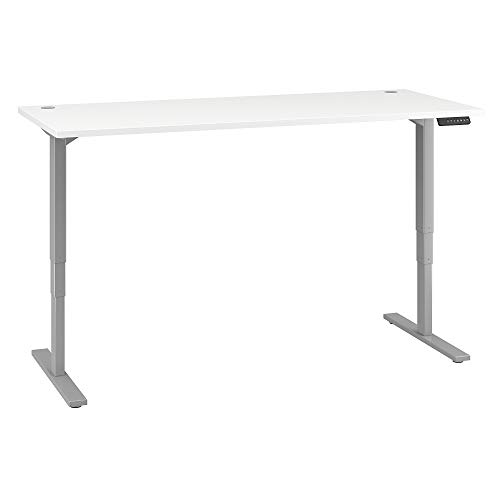 Move 80 Series by Bush Business Furniture 72W x 30D Height Adjustable Standing Desk in White with Cool Gray Metallic Base