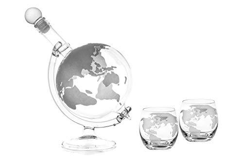 slkfactory Whisky karaf 750 ml GLOBUS en 2 glazen set elk 350 ml glazen karaf wereld karaf fles 0,75 liter glazen fles likeurflessen jeneverfles wijn jenever jenever (1 stuk & 2 glazen)