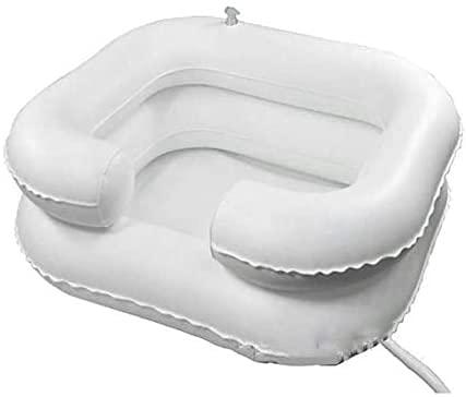 BBOOXX Lavabo de champú,Postrado en Cama Portátil Inflable Olla Lavabo con Drenar por Hogar Niños Embarazada Desactivado Persona White