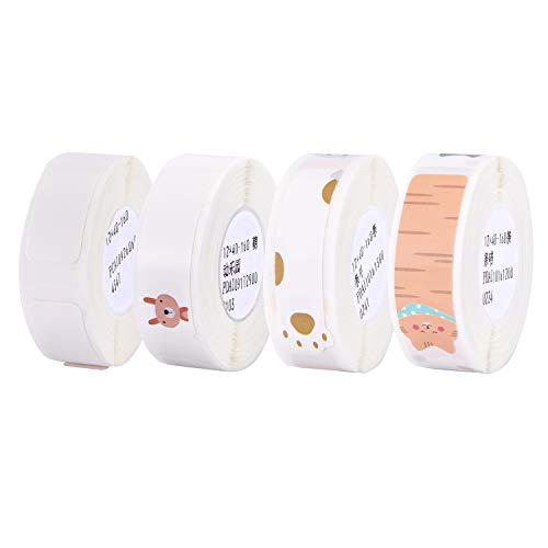Aibecy Labeldrucker Papier Thermopapier Etikett Papier Barcode Preis Größe Name Leere Etiketten Wasserdicht Reißfest 4 Rollen für Home Organizer Supermarkt Store Catering