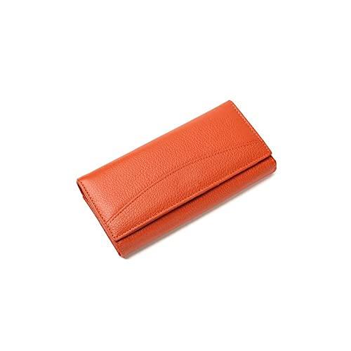 FEINENGSHUAInsqb Bolso Monedero, La Cartera de Mujeres largas, Hecha de Cuero Genuino, se Siente cómodo y Tiene un Gran Espacio Incorporado. (Color : Orange)