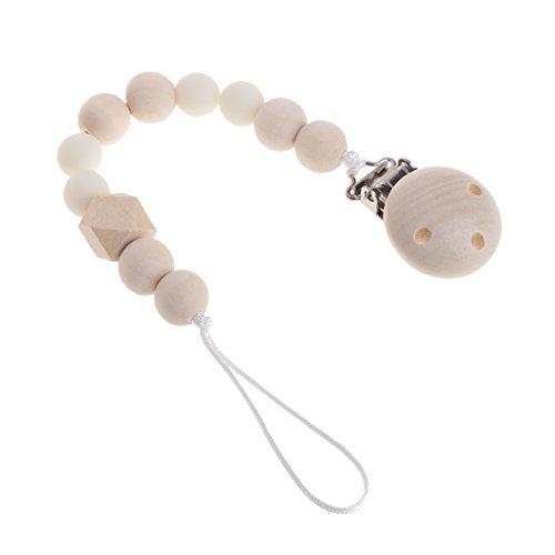 MIsha cadena chupetes Clip de madera chupete perlas de mordedor de madera natural(Blanco)