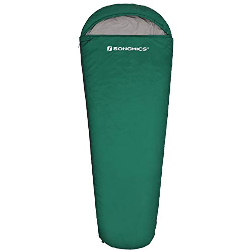 SONGMICS Saco de Dormir con Capucha para -7-15°C, Ligero, Portátil con Saco de Compresión, para 3 Estaciones, Camping, Senderismo, Viajar, Mochilero, Verde Oscuro GSB10GN