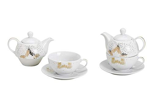 Tea for One Set mit goldenem Stern (Kanne & Tasse & Untertasse)