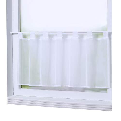Joyswahl Scheibengardine Voile Bistrogardine »Eva« Unifarbige Kurzstore Transparente Gardine Stores HxB 45x90cm Weiß 1er Pack