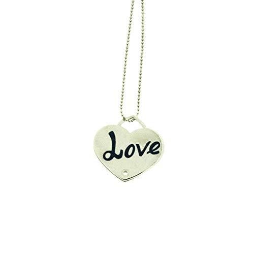 Sciccherie Collar colgante mujer corazón con inscripción 'Love' azul plata 925 bañada en oro blanco, collar con corazón colgante con texto en azul. Longitud 44-47 cm