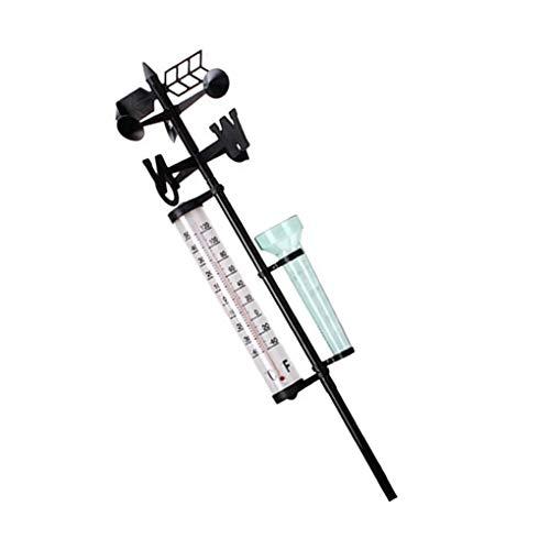 Guangcailun 3 en 1 multifunción termómetros Pluviómetro Anemómetro al Aire Libre Meteorológica Medidor de la estación meteorológica Yard