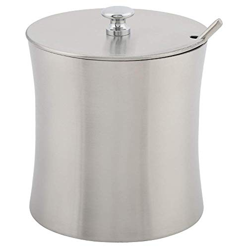 Azucarero con tapa y cuchara, recipientes de acero inoxidable para especias, recipiente para azúcar, recipiente para sal, para organizador de cocina, 400 ml/13 oz