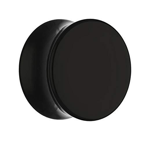 Treuheld® | 10mm Ohr Plug in Schwarz | Acryl/Kunststoff | Double Flared - Ohne Gewinde | Classic Flesh Tunnel Plug | Hochwertig und Hautfreundlich