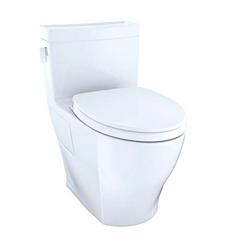 TOTO MS624124CEFG#01 Legato WASHLET Elongated 1.28 GPF Universal Height Skirted CeFiONtect, White-MS624124CEFG One-Piece Toilet, Cotton White