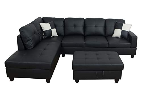 3-Piece Contemporary L-Shape Sectional Sofa with Chaise and Storage Ottoman | Living Room Furniture | Faux Leather Upholstery | High-Density Memory Foam Cushions | Pillows Included (Black Left-facing)