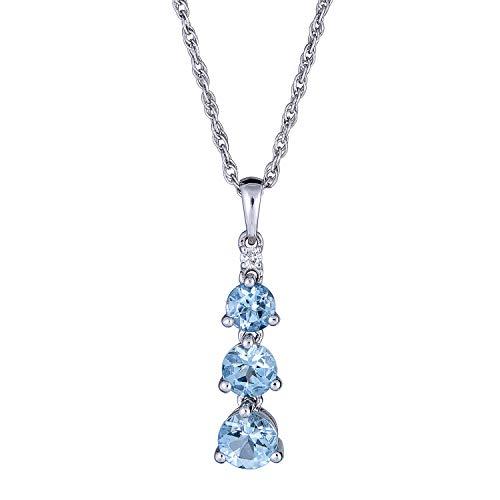 Gin & Grace 925 Tres blanco pendiente de piedra originales de Aquamarine diamante natural para la Mujer