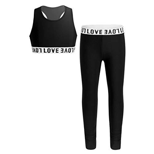 MSemis Teenager Mädchen Jogginganzug Trainingsanzug Sportanzug Jogger Crop Top Sport Weste mit Leggins Streetwear für Tanz Yoga Jogging Schwarz 134-140