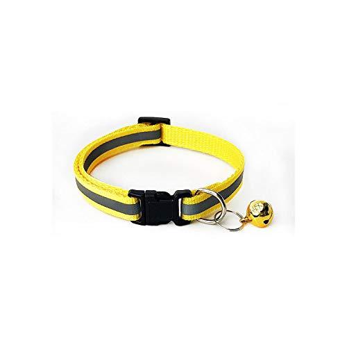 MY CAT Reflektierendes Hundehalsband, verstellbar, für Katzen und kleine Hunde, Gelb