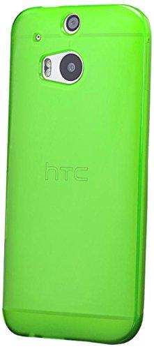 iCues HTC One M8 | TPU Matt Case Neon Grün | [Display Schutzfolie Inklusive] Transparent Klarsichthülle Durchsichtig Klare Klarsicht Silikon Gel Schutzhülle Hülle Cover Schutz