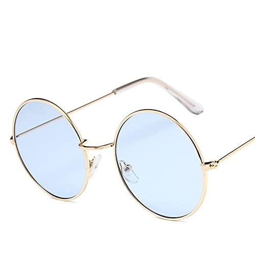 QWKLNRA Gafas De Sol para Hombre Marco Dorado Lente Azul Gafas De Sol Deportivas Polarizadas contra-UV Lentes Modernas Portátiles Redondas Pequeñas Gafas De Sol para Mujeres Niñas Gafas De Sol Co