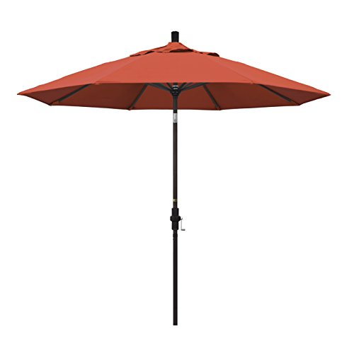 California Umbrella 9' Round Aluminum Market Umbrella, Crank Lift, Collar Tilt, Bronze Pole, Sunset Olefin
