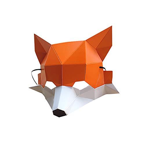 Aromagood DIY Paper Mask Animal Mask Creative Half Face Fox Paper Mask Masquerade Party Props 1 Pcs
